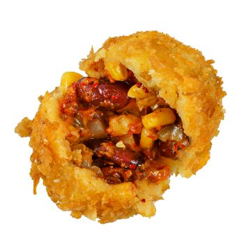 Mexican knödel /jalapeno, cheddar cheese, red beans, corn,  grilled paprika, red onion/